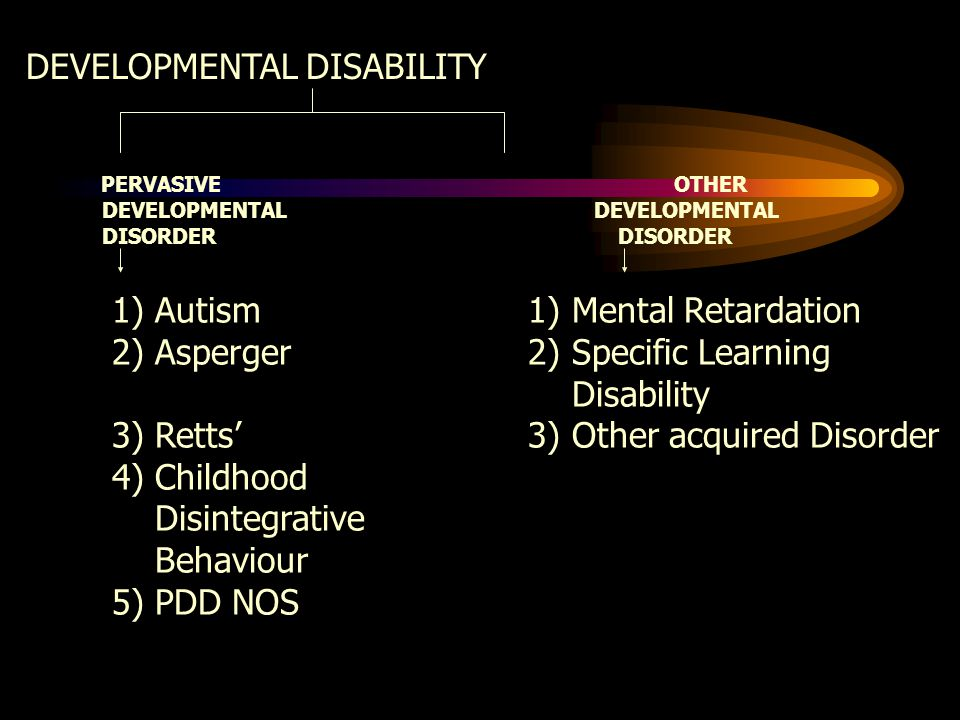 DEVELOPMENTAL DISABILITY PERVASIVE OTHER DEVELOPMENTAL DEVELOPMENTAL DISORDER DISORDER 1) Autism 1) Mental Retardation 2) Asperger 2) Specific Learning Disability 3) Retts' 3) Other acquired Disorder 4) Childhood Disintegrative Behaviour 5) PDD NOS
