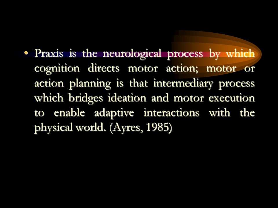 Praxis is the neurological process by which cognition directs motor action; motor or action planning is that intermediary process which bridges ideation and motor execution to enable adaptive interactions with the physical world.