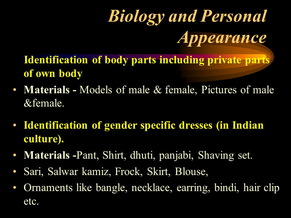 Biology and Personal Appearance Identification of body parts including private parts of own body Materials - Models of male & female, Pictures of male &female.