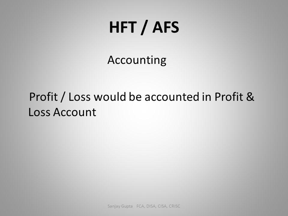 HFT / AFS Accounting Profit / Loss would be accounted in Profit & Loss Account Sanjay Gupta FCA, DISA, CISA, CRISC