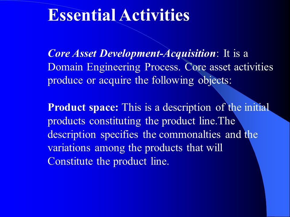 Essential Activities Core Asset Development-Acquisition: It is a Domain Engineering Process.