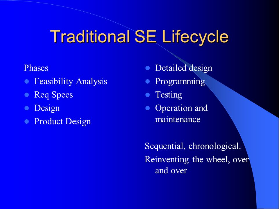 Traditional SE Lifecycle Phases Feasibility Analysis Req Specs Design Product Design Detailed design Programming Testing Operation and maintenance Sequential, chronological.