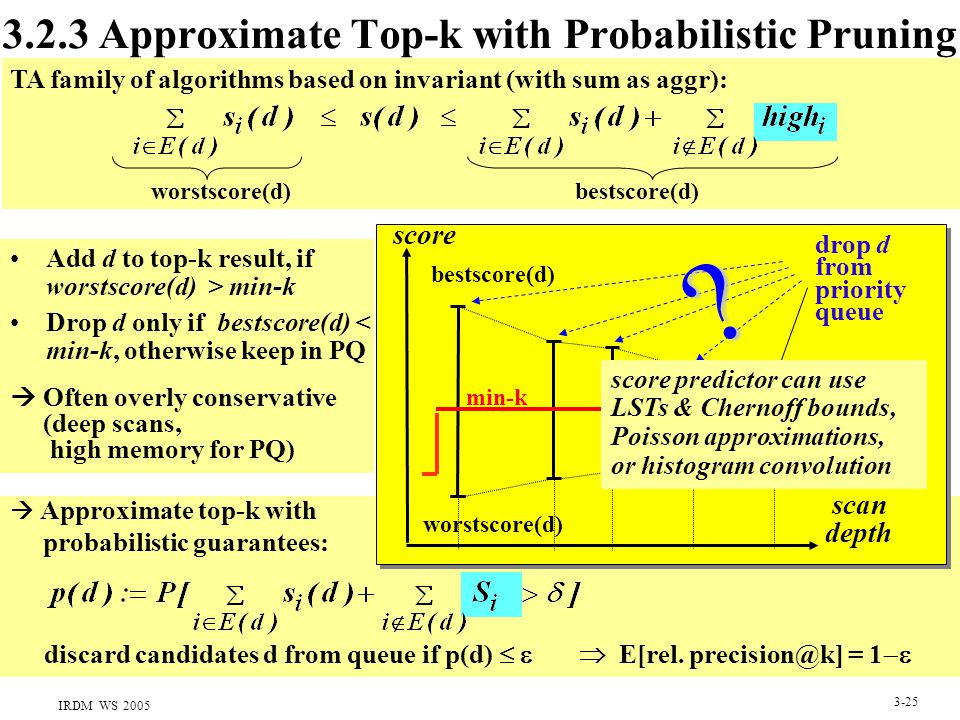 IRDM WS 2005 3-25 3.2.3 Approximate Top-k with Probabilistic Pruning scan depth drop d from priority queue  Approximate top-k with probabilistic guar