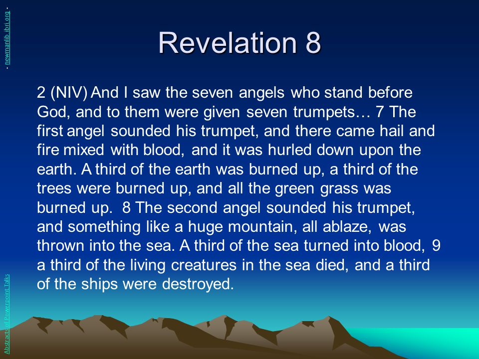 Revelation 16 1 (NIV) Then I heard a loud voice from the temple saying to the seven angels, Go, pour out the seven bowls of God s wrath on the earth. 2 The first angel went and poured out his bowl on the land, and ugly and painful sores broke out on the people who had the mark of the beast and worshiped his image.