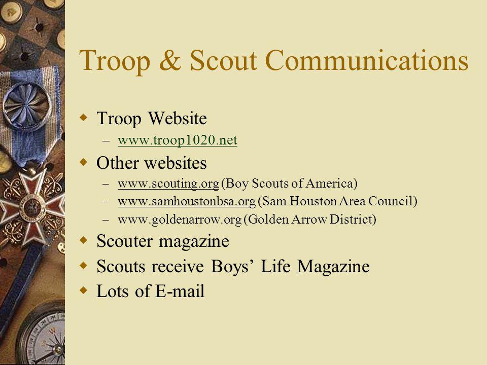 Troop & Scout Communications  Troop Website – www.troop1020.net www.troop1020.net  Other websites – www.scouting.org (Boy Scouts of America) – www.s