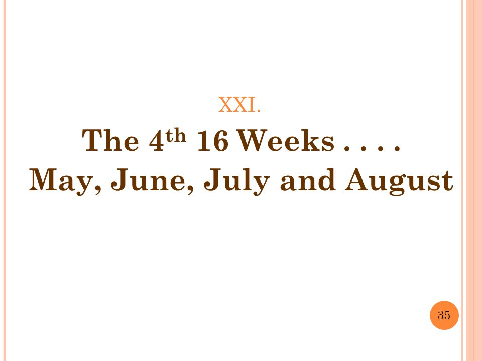 XXI. The 4 th 16 Weeks.... May, June, July and August 35