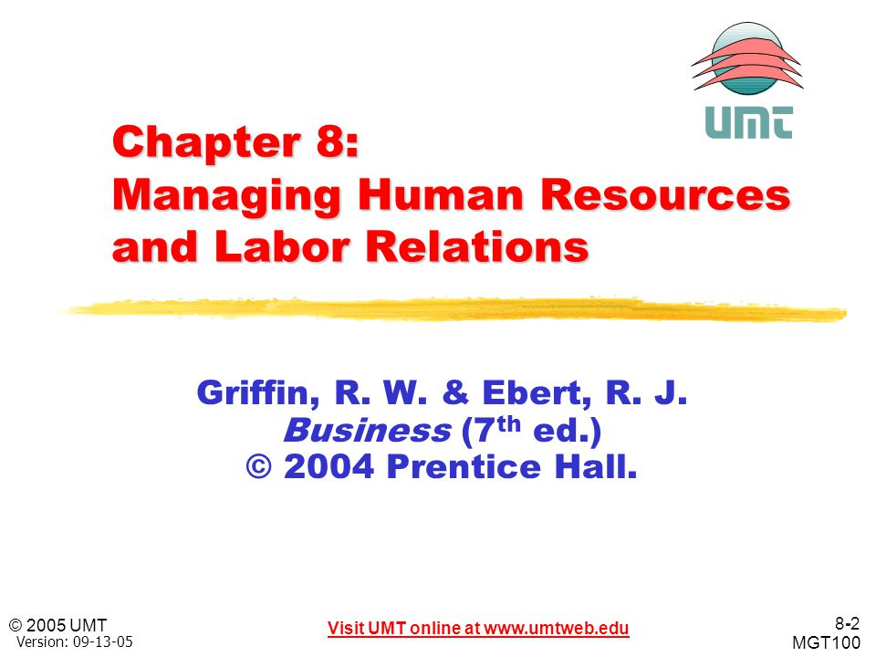 8-63 Visit UMT online at www.umtweb.edu © 2005 UMT MGT100 XP Version: 09-13-05 When Bargaining Fails Mediation and Arbitration—Mediation and arbitration make use of a third party to help resolve the dispute.