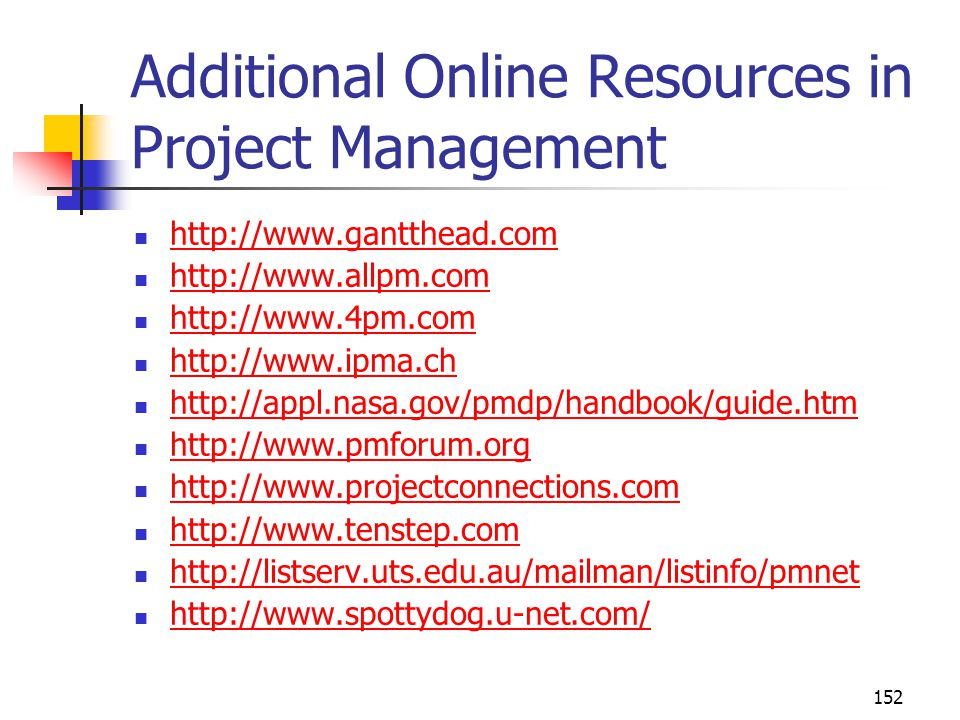 152 Additional Online Resources in Project Management http://www.gantthead.com http://www.allpm.com http://www.4pm.com http://www.ipma.ch http://appl.