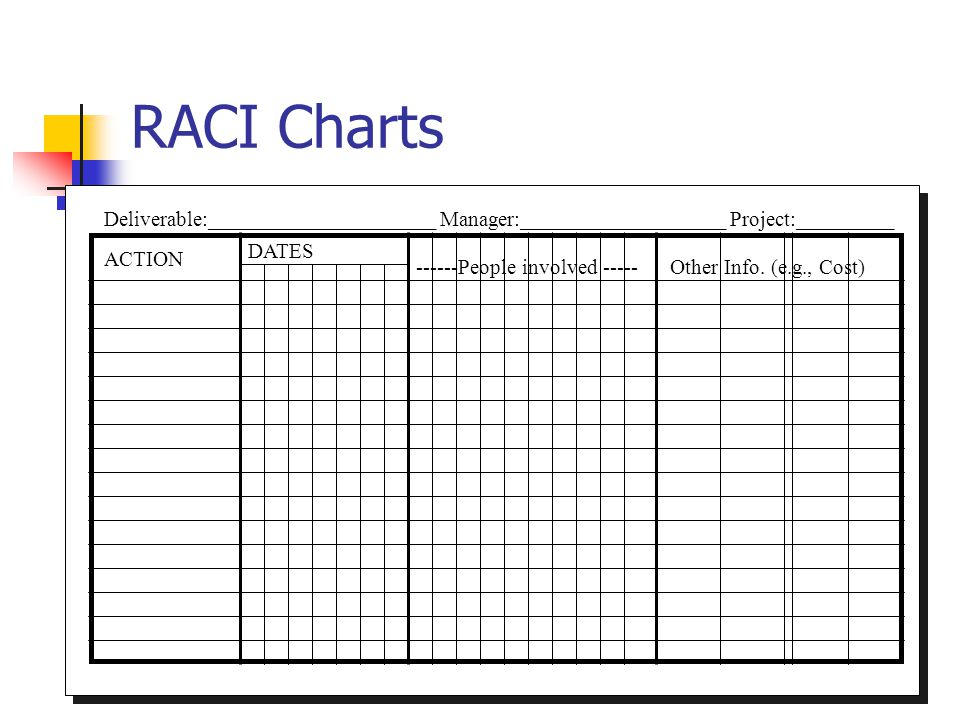 167 RACI Charts Deliverable:_____________________ Manager:___________________ Project:_________ ACTION DATES ------People involved ----- Other Info. (