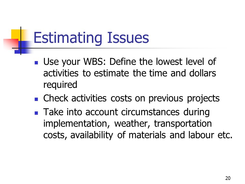 20 Estimating Issues Use your WBS: Define the lowest level of activities to estimate the time and dollars required Check activities costs on previous