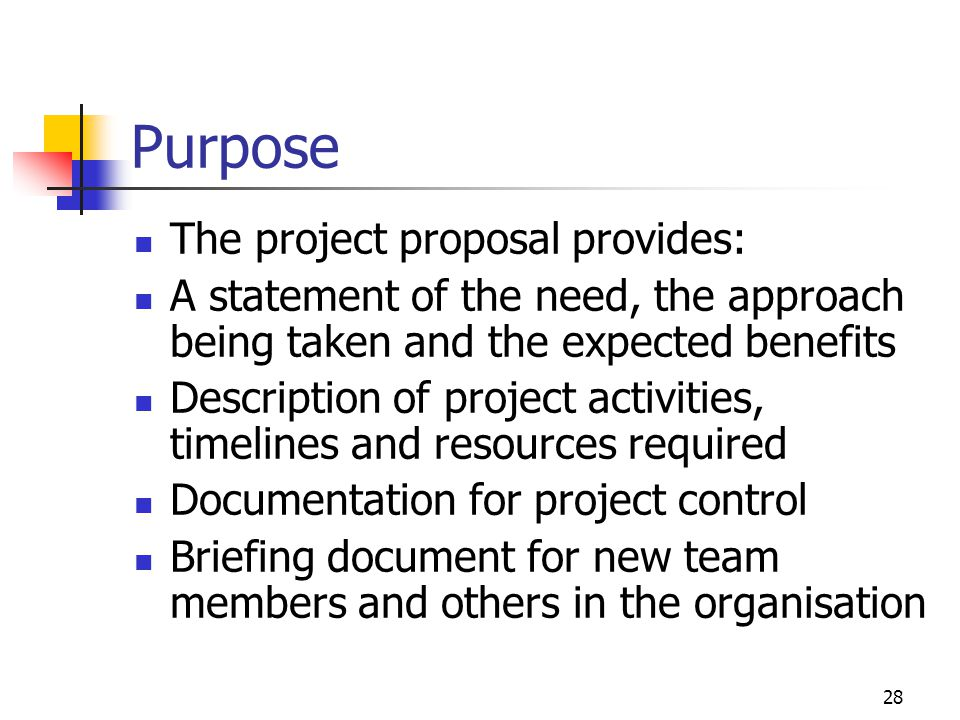 28 Purpose The project proposal provides: A statement of the need, the approach being taken and the expected benefits Description of project activitie