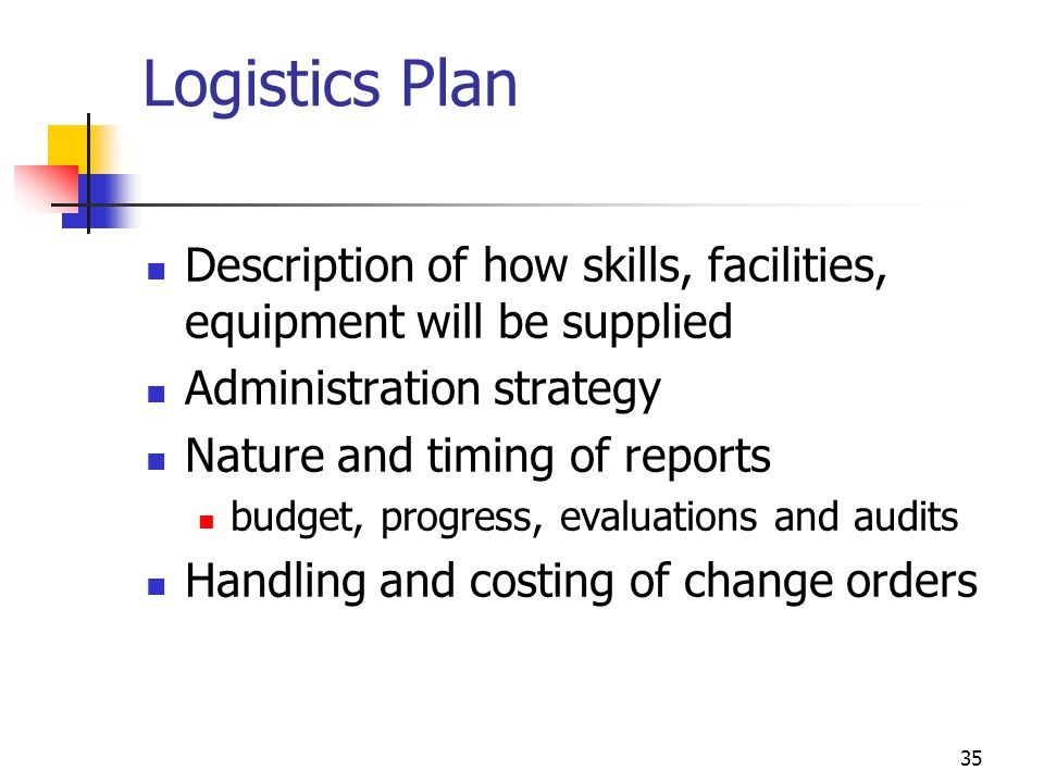 35 Logistics Plan Description of how skills, facilities, equipment will be supplied Administration strategy Nature and timing of reports budget, progr