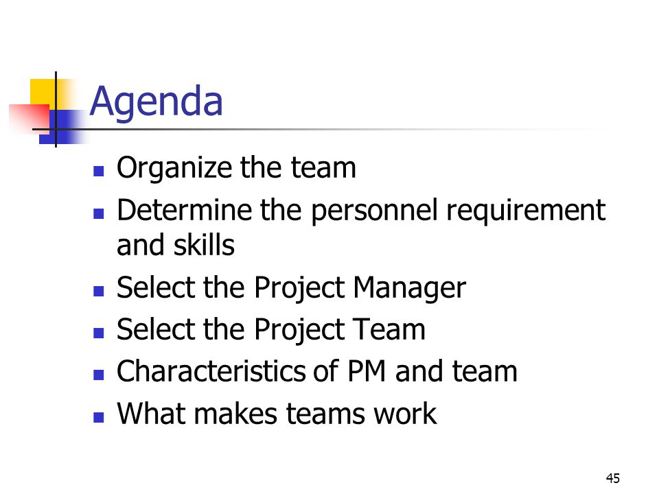 45 Agenda Organize the team Determine the personnel requirement and skills Select the Project Manager Select the Project Team Characteristics of PM an