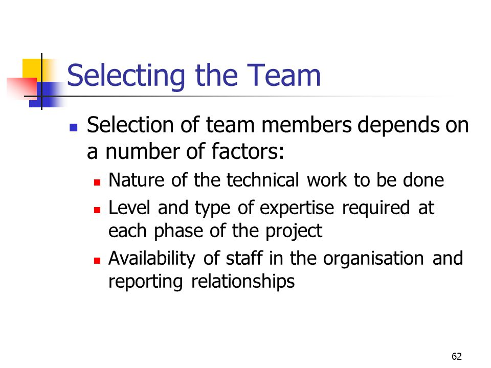 62 Selecting the Team Selection of team members depends on a number of factors: Nature of the technical work to be done Level and type of expertise re