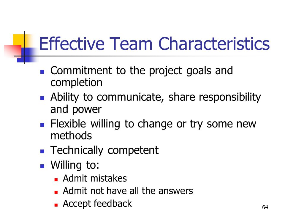 64 Effective Team Characteristics Commitment to the project goals and completion Ability to communicate, share responsibility and power Flexible willi