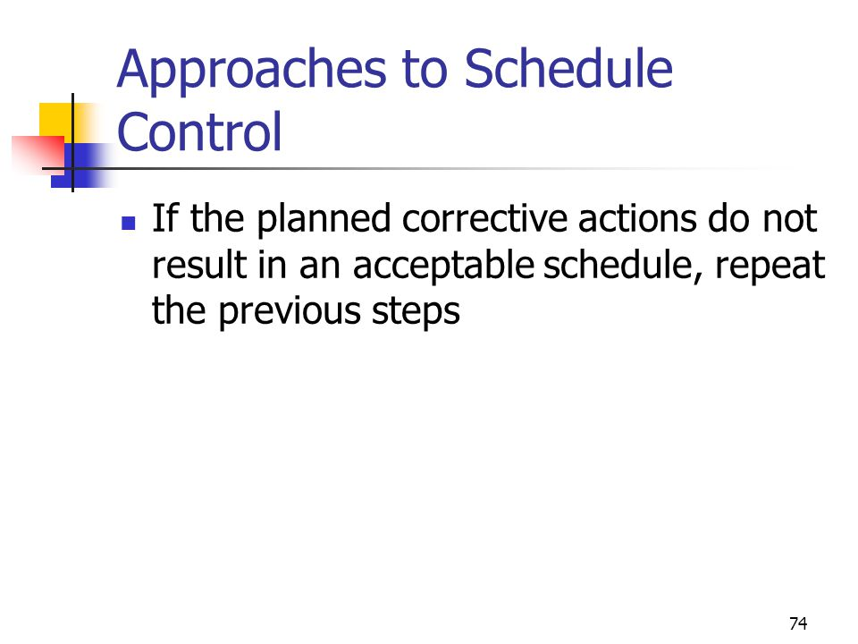74 Approaches to Schedule Control If the planned corrective actions do not result in an acceptable schedule, repeat the previous steps