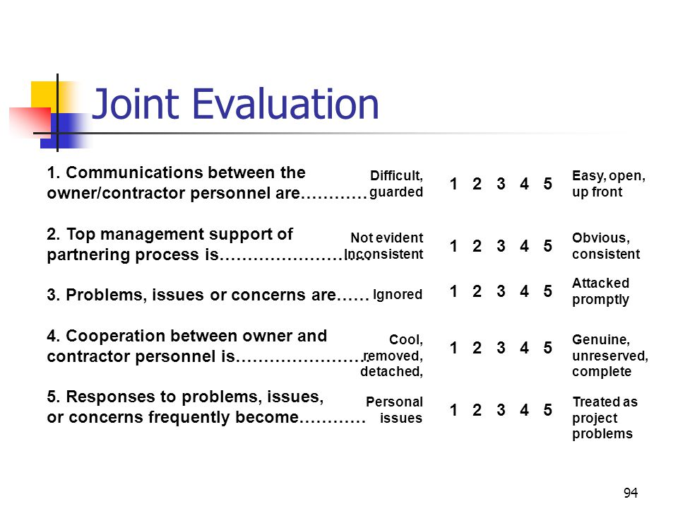 94 Joint Evaluation 1. Communications between the owner/contractor personnel are………… 2. Top management support of partnering process is……………………… 3. Pr