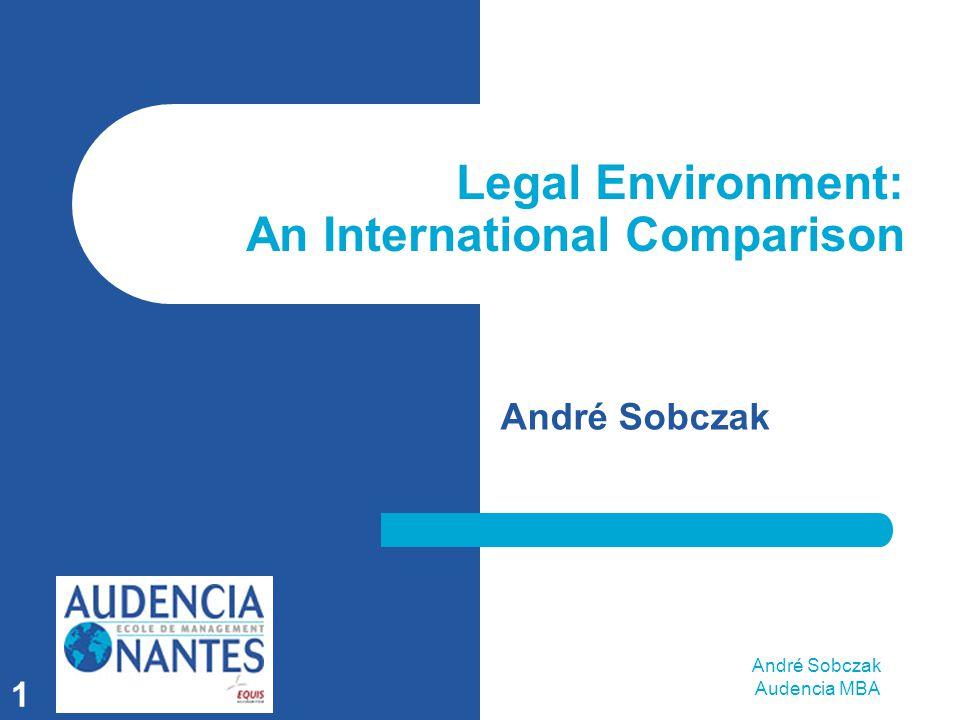 André Sobczak Audencia MBA 1 Legal Environment: An International Comparison André Sobczak