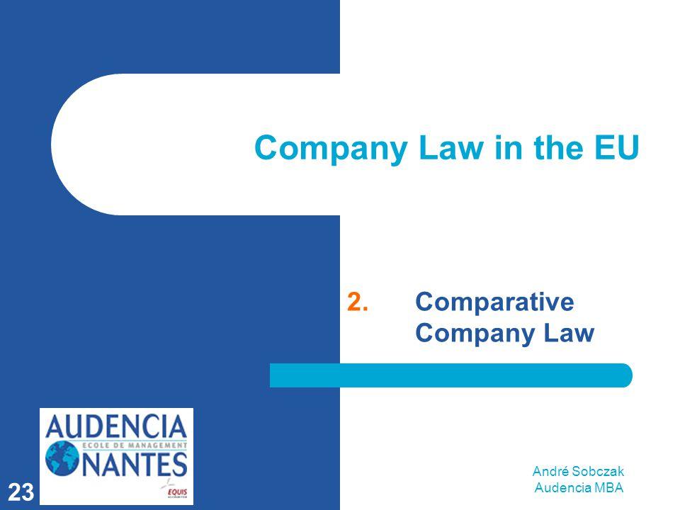 André Sobczak Audencia MBA 23 Company Law in the EU 2.Comparative Company Law