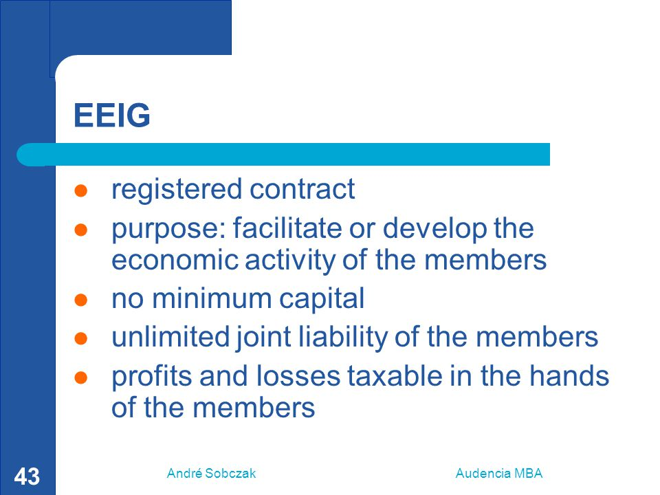 André Sobczak Audencia MBA 43 EEIG registered contract purpose: facilitate or develop the economic activity of the members no minimum capital unlimite