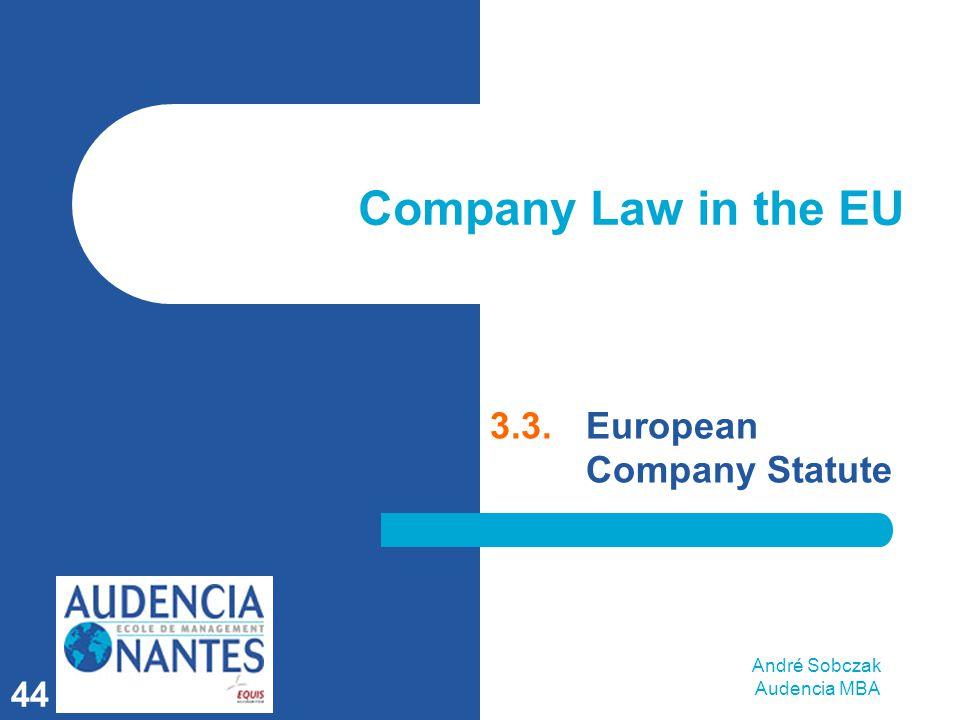 André Sobczak Audencia MBA 44 Company Law in the EU 3.3.European Company Statute