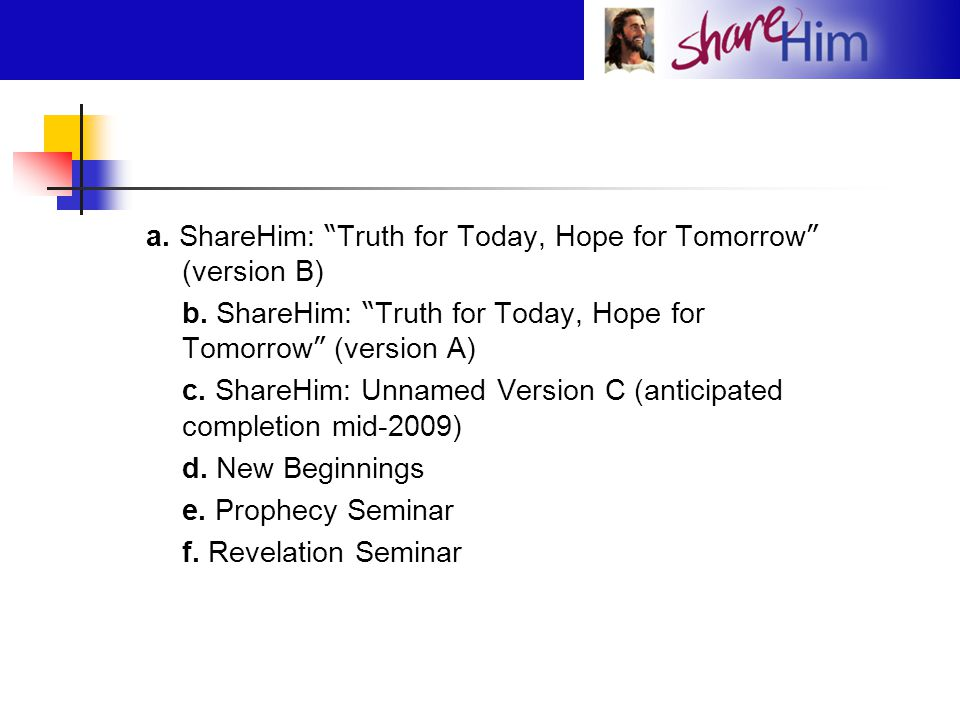 "a. ShareHim: "" Truth for Today, Hope for Tomorrow "" (version B) b. ShareHim: "" Truth for Today, Hope for Tomorrow "" (version A) c. ShareHim: Unnamed V"