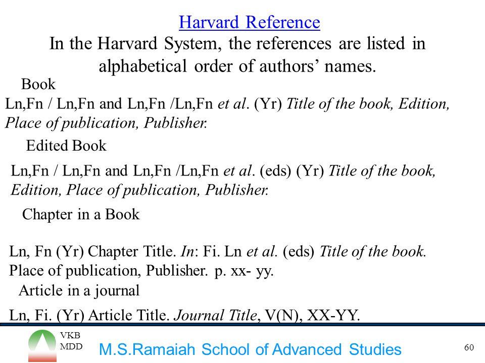 M.S.Ramaiah School of Advanced Studies VKB MDD 60 Ln,Fn / Ln,Fn and Ln,Fn /Ln,Fn et al. (Yr) Title of the book, Edition, Place of publication, Publish