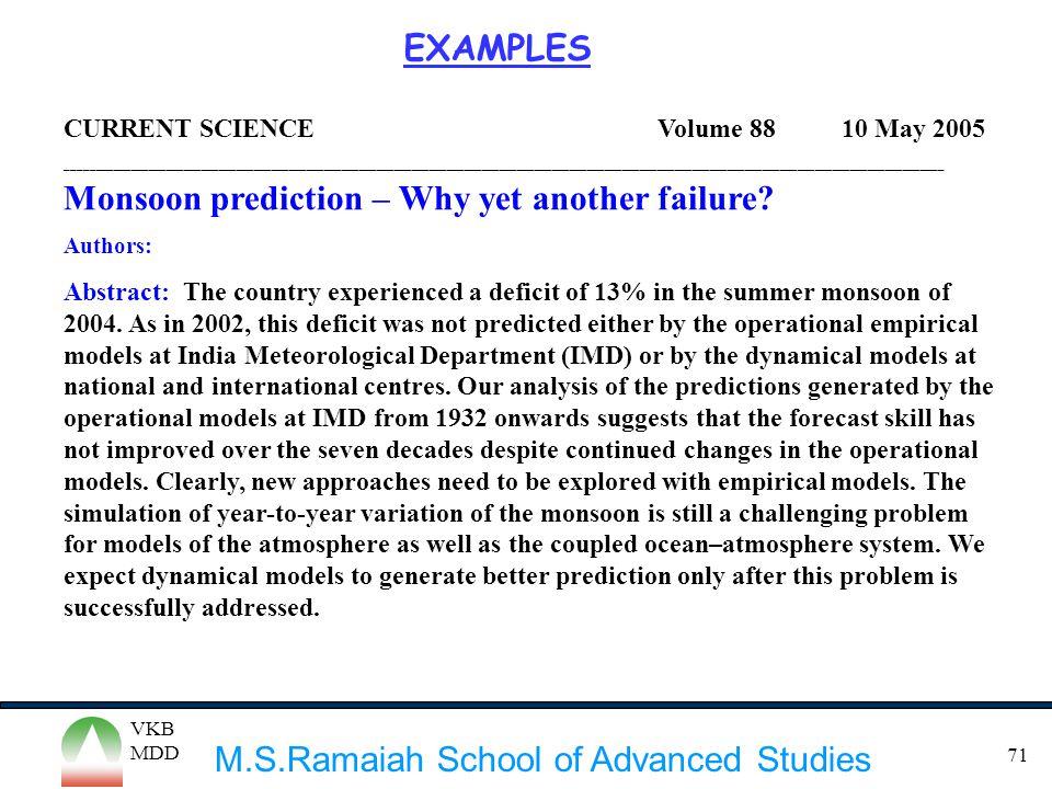 M.S.Ramaiah School of Advanced Studies VKB MDD 71 CURRENT SCIENCE Volume 88 10 May 2005 ______________________________________________________________