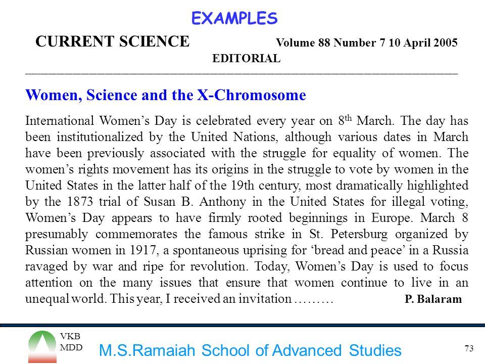 M.S.Ramaiah School of Advanced Studies VKB MDD 73 CURRENT SCIENCE Volume 88 Number 7 10 April 2005 EDITORIAL _________________________________________