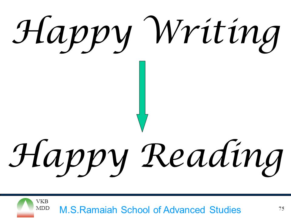 M.S.Ramaiah School of Advanced Studies VKB MDD 75 Happy Writing Happy Reading