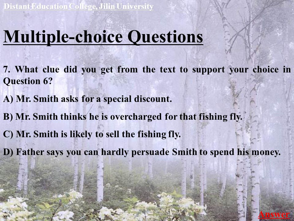 Multiple-choice Questions 7.