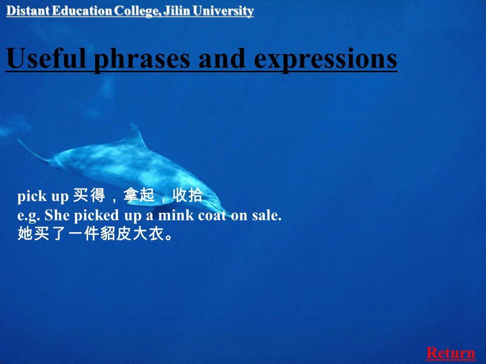 Useful phrases and expressions pick up 买得,拿起,收拾 e.g.