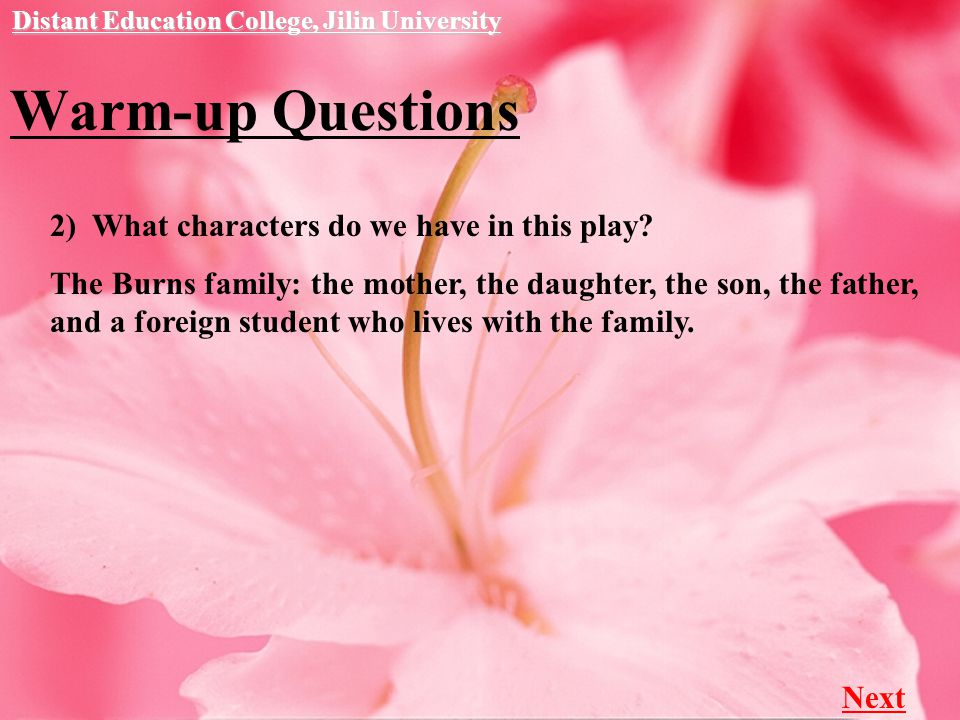 Warm-up Questions Distant Education College, Jilin University 2) What characters do we have in this play.