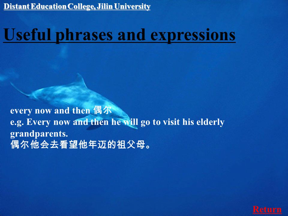 Useful phrases and expressions every now and then 偶尔 e.g.