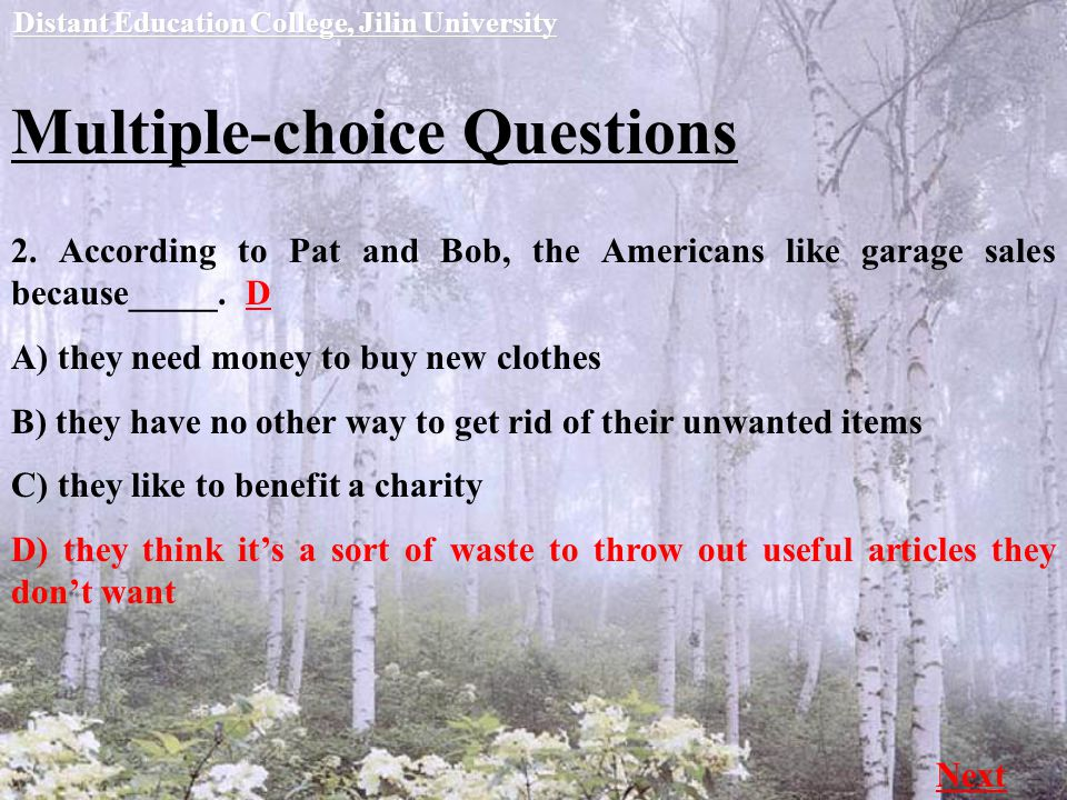 Multiple-choice Questions Distant Education College, Jilin University Next 2.