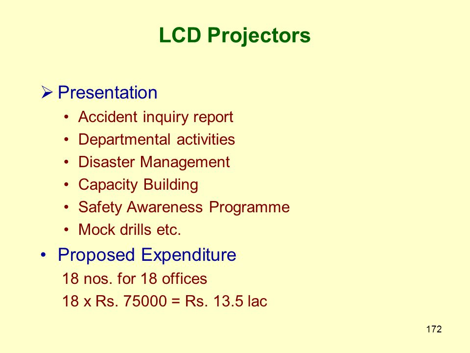 171 Item Amount Rs. in Lac Capacity building (A) To workers as per module (up to 30 workers) one day – (52 x Rs. 25,000) = Rs. 13 lac two day – (26 x