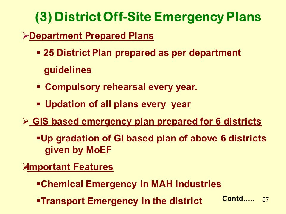 36 1.Basic Plan Elements- (25) 2.Hazard / Risk Assessment – (12) 3.Prevention – (18) 4.Direction and Control – (12) 5.Training – (44) 6.Drills and Exe
