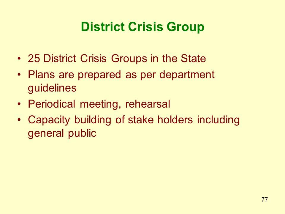 76 Sr.No.DistrictHead Quarters of the DCG Local Crisis Groups Formed at 17SabarkanthaHimmatnagar 18Surat 1. Sachin-Pandesara 2. Hazira-Olpad 3. Vyara-