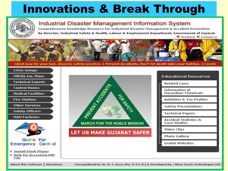 """85 Features of """"Industrial Disaster Management Information System"""" Website Emergency / Disaster Management Information Training Material Technical Kno"""