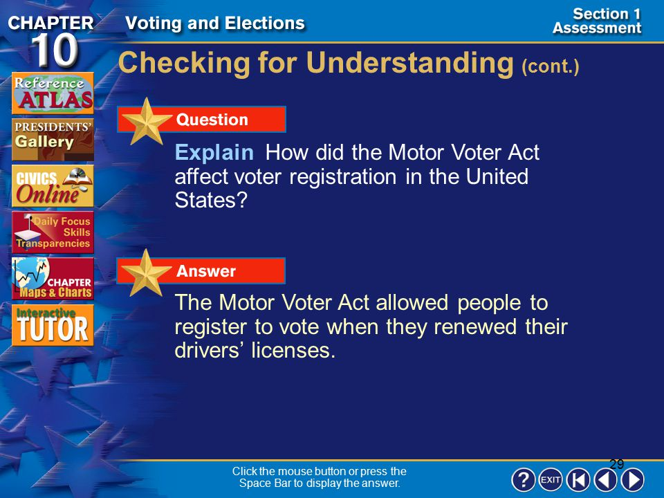 28 Section 1-21 Checking for Understanding __ 1.a geographic area that contains a specific number of voters __ 2.all the people who are eligible to vo