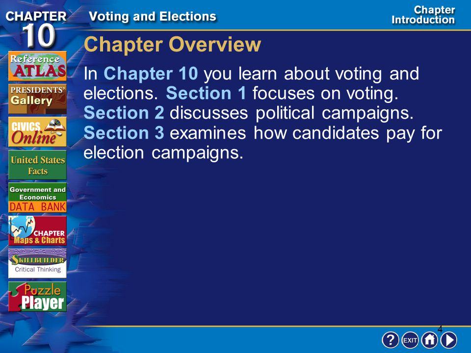 3 Contents Chapter Introduction Section 1Who Can Vote? Section 2Election Campaigns Section 3Paying for Election Campaigns Review to Learn Chapter Asse