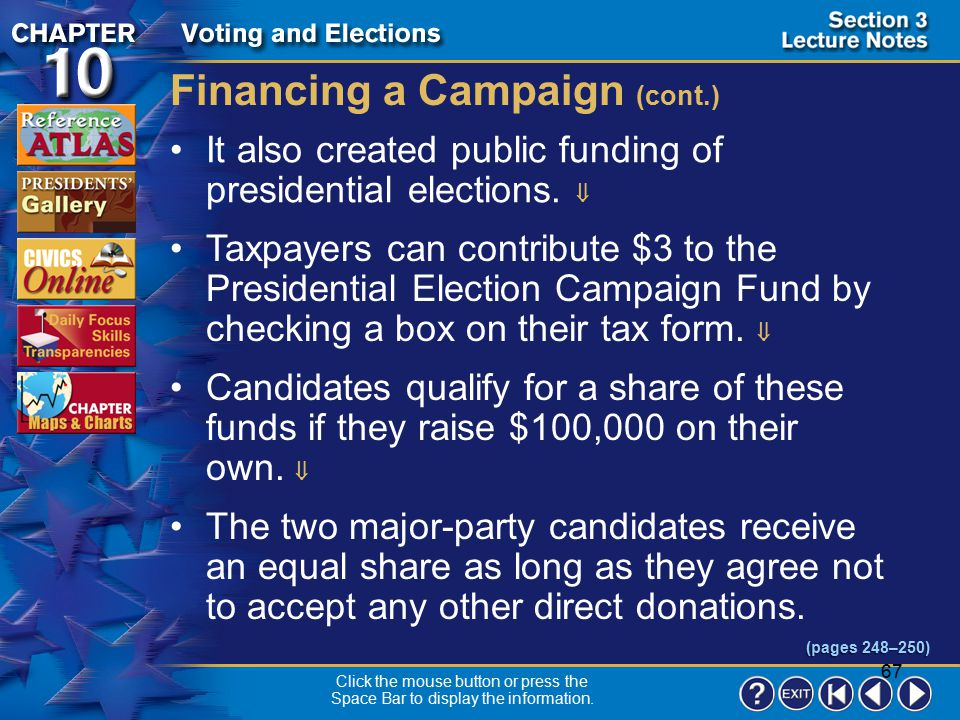 66 Section 3-9 Financing a Campaign In the past, the public wondered if successful candidates would owe special favors to the individuals, businesses,