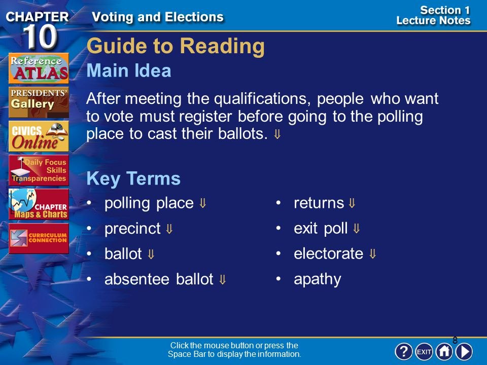 8 Section 1-1 Guide to Reading After meeting the qualifications, people who want to vote must register before going to the polling place to cast their ballots.