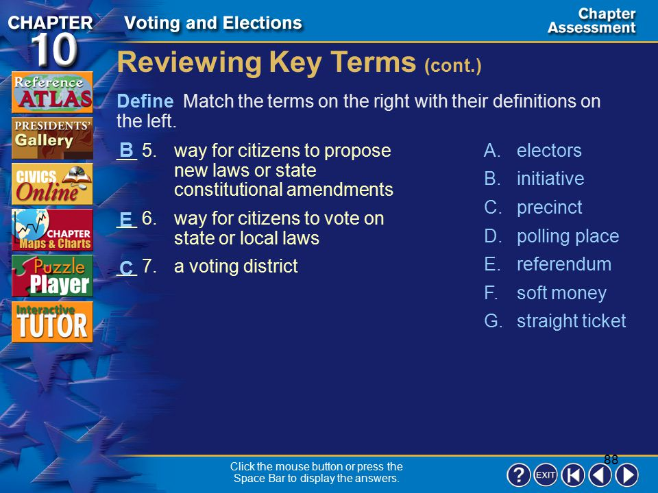 87 Chapter Assessment 1 Define Match the terms on the right with their definitions on the left. Reviewing Key Terms __ 1.the location where voting tak