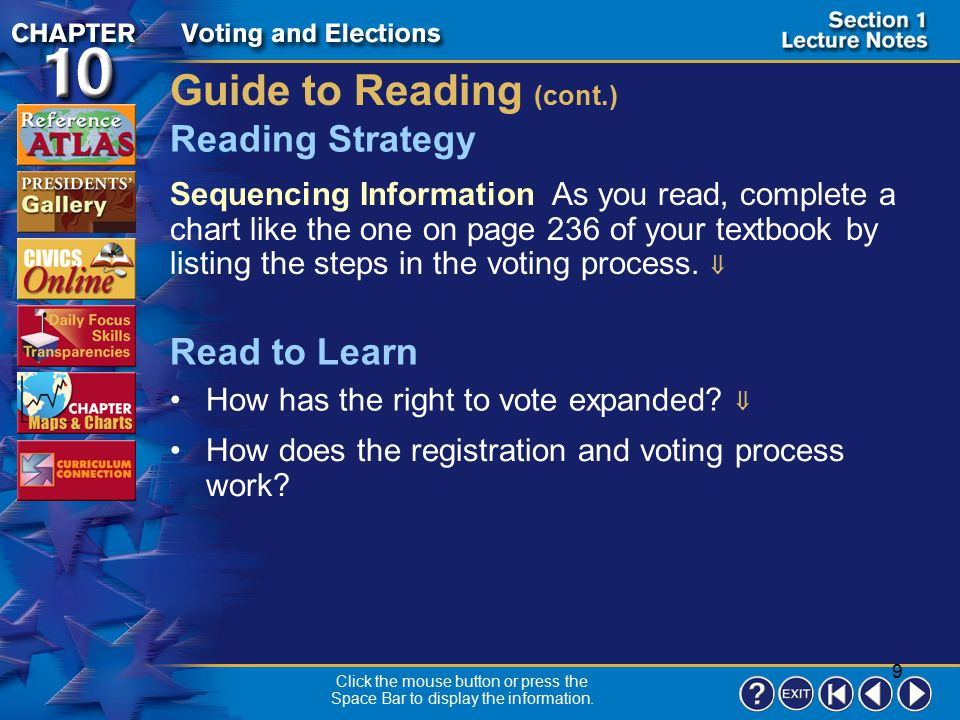 Civics Online Explore online information about the topics introduced in this chapter.