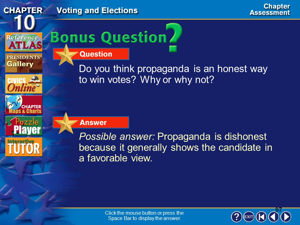 96 Chapter Assessment 10 Directions: Choose the best answer to the following question. Which of the following statements best describes the Electoral