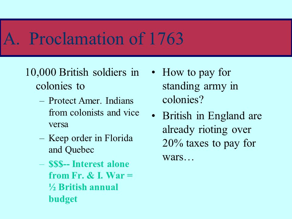 IV.A series of Events: actions-reactions Colonists surge into lands won from French in French & Indian war  American Indians attack colonist to protect land  King George III issues proclamation of 1763: Colonists stay out! Proclamation of 1763