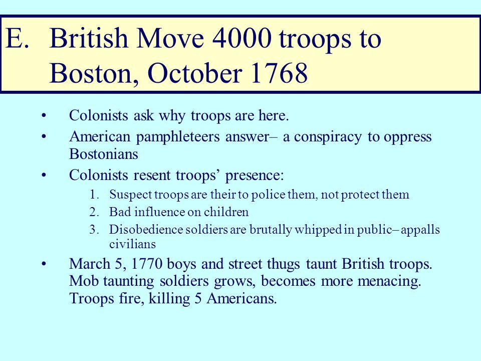 British Reaction to Massachusetts' defiance (Spring 1768) Hillsborough dissolves Mass.