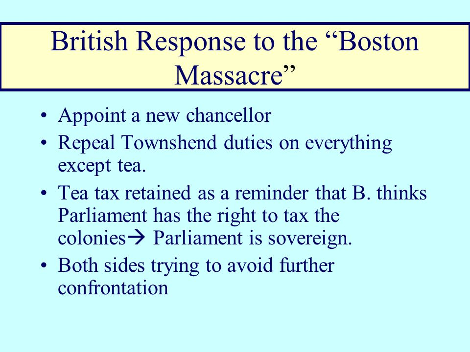 Pamphleteers put spin on the event  Boston Massacre Joseph Warren's propagandists speech about the murdered husbands and orphaned children of the 5 bachelors spreads throughout colonies Paul Revere makes popular and gory engraving of the event.