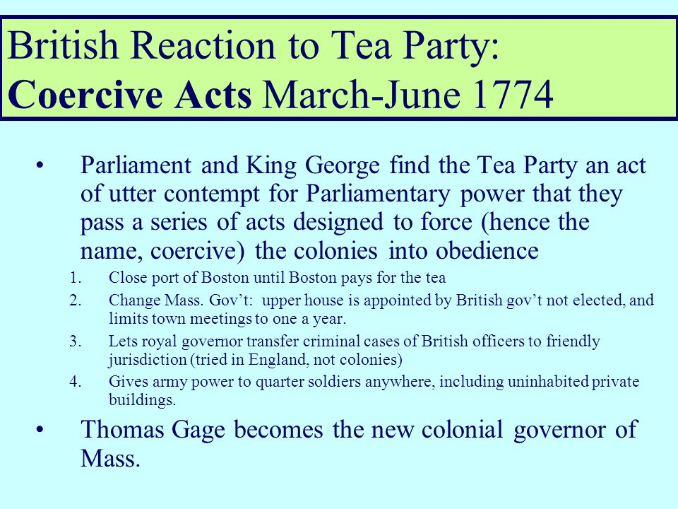 Colonial Reaction to 1773 Tea Act: Boston Tea Party, December 16 th, 1773 Disguised as Amer.